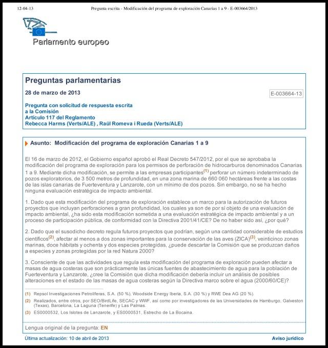 Modificación del programa de exploración Canarias 1 a 9 - E-003664_2013